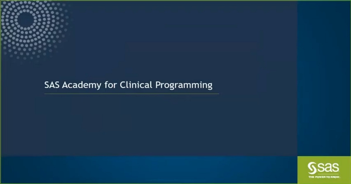 Webinar SAS Academy for Clinical Programming