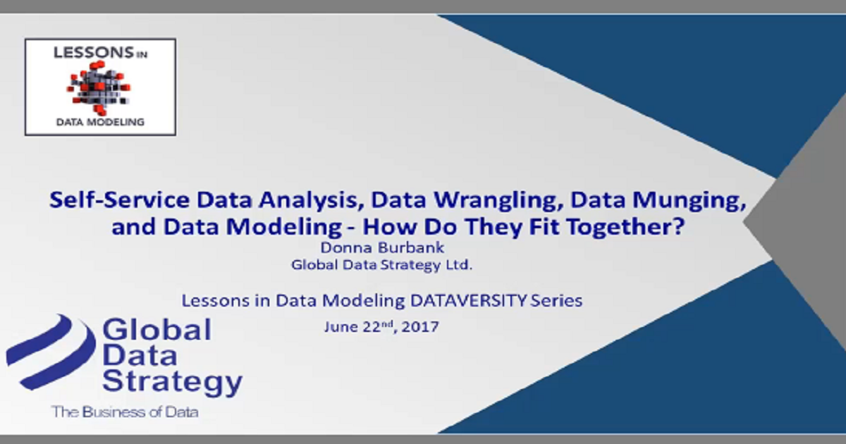 Self-Service Data Analysis, Data Wrangling, Data Munging, and Data Modeling – How Do They Fit Together?