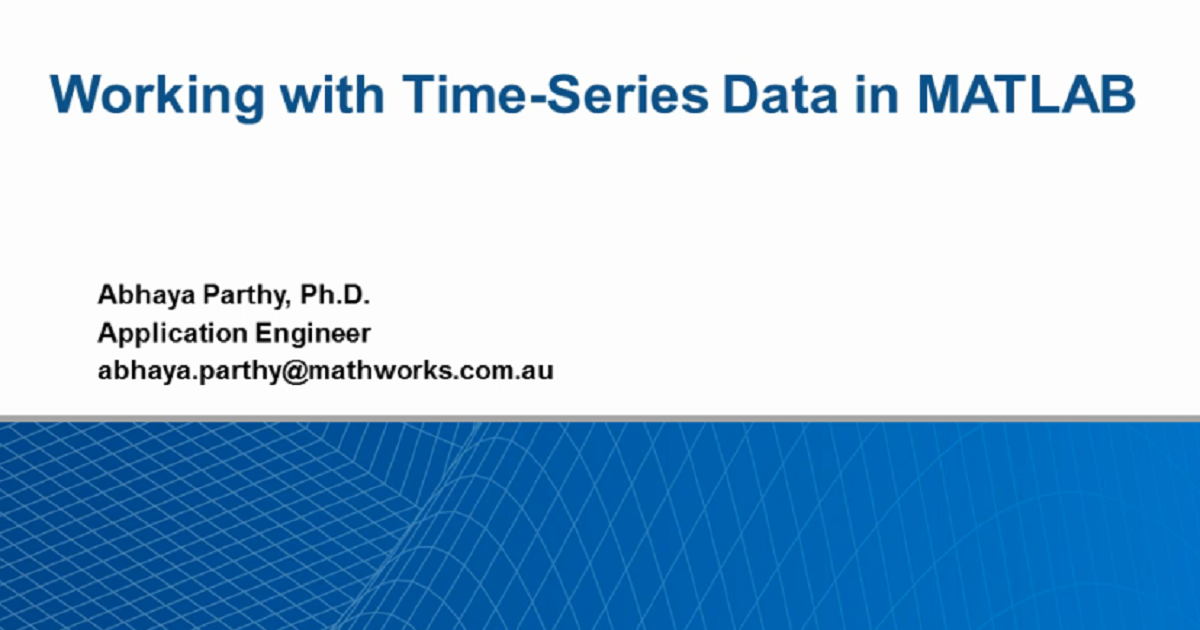 Working with Time-Series Data in MATLAB